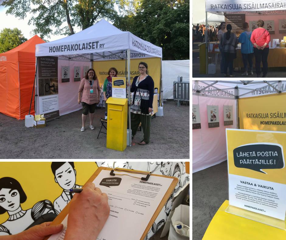 Homepakolaiset ry:n työntekijät ja vapaaehtoiset esittelevät yhdistyksen toimintaa Maailma kylässä -festivaaleilla.