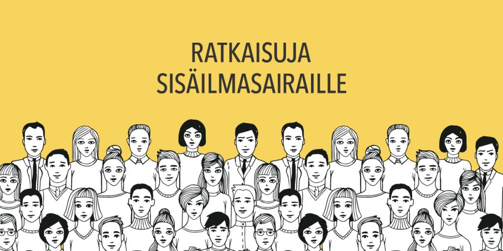 Piirrettyjä ihmisiä keltaisella taustalla tekstinä ratkaisuja sisäilmasairaille