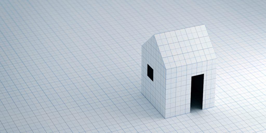 Paperitalo suunnittelijan pöydällä.