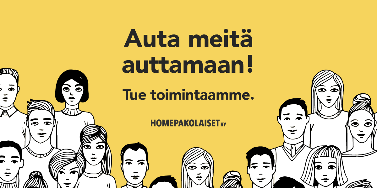 Ryhmä piirrettyjä ihmisiä. Auta meitä auttamaan! Tue toimintaamme. Homepakolaiset ry.